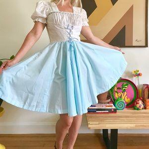 Vintage 70s corset peasant mini dress Oktoberfest